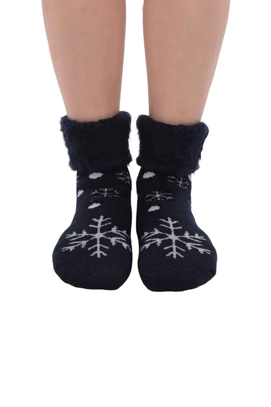 SİMİSSO - Kar Tanesi Desenli Kadın Bot Çorap   Lacivert