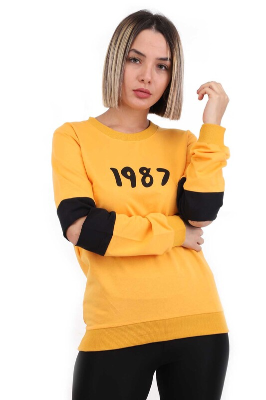 Hostess - Hostes 1987 Baskılı Kadın Sweat 6501   Sarı