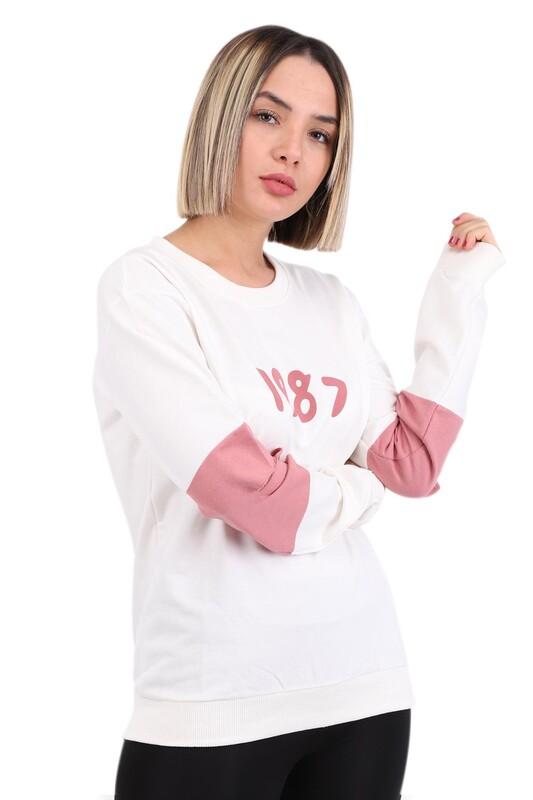 Hostess - Hostes 1987 Baskılı Kadın Sweat 6501   Krem