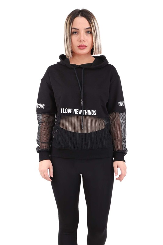 SİMİSSO - File Detaylı Kadın Sweat   Siyah