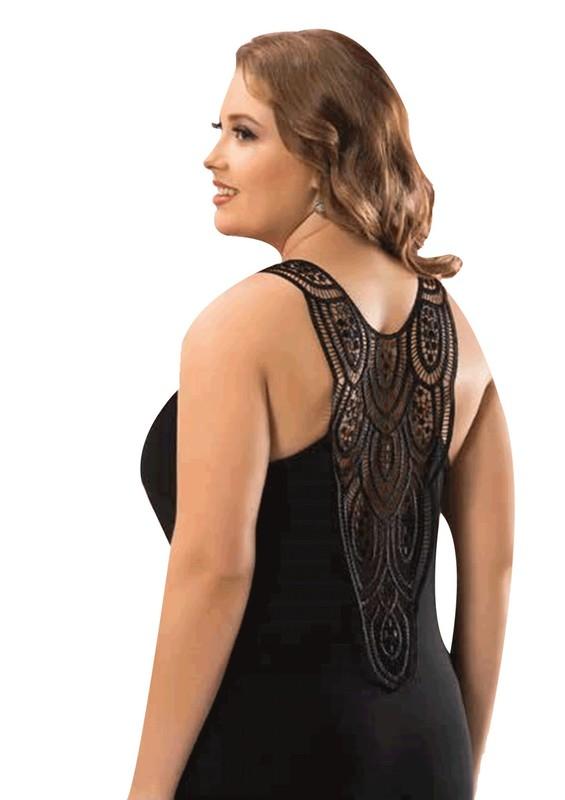 KOTA - Kota Güpür Askılı Arkası Transparan Güpürlü Siyah T-Shirt 6198 | Siyah