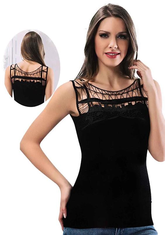 KOTA - Kota Sıfır Kollu Yakası Güpürlü T-shirt 6096 | Siyah