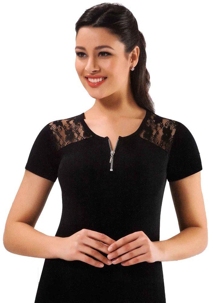 Kota Yakası Fermuarlı Omuzları Dantelli T-shirt 6034 | Siyah