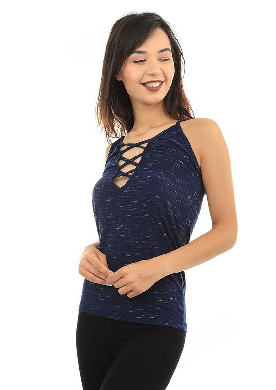 KOTA - Kota İp Askılı Yakası Çapraz İpli T-shirt 6178 | Lacivert