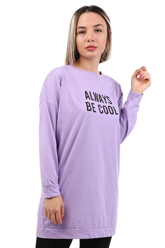 SİMİSSO - Always Baskılı Uzun Kollu Kadın T-shirt | Mor