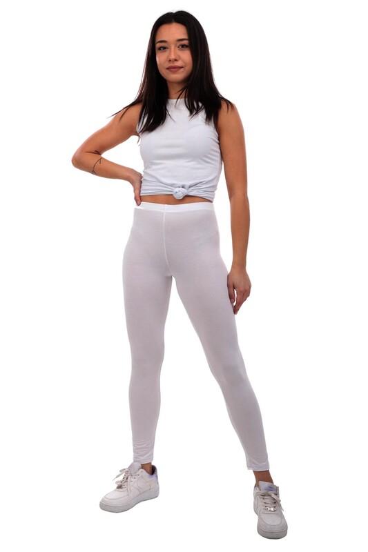 MARY LUX - Mary Lüx Beli Lastikli Düz Beyaz Fitness Tayt 602   Beyaz