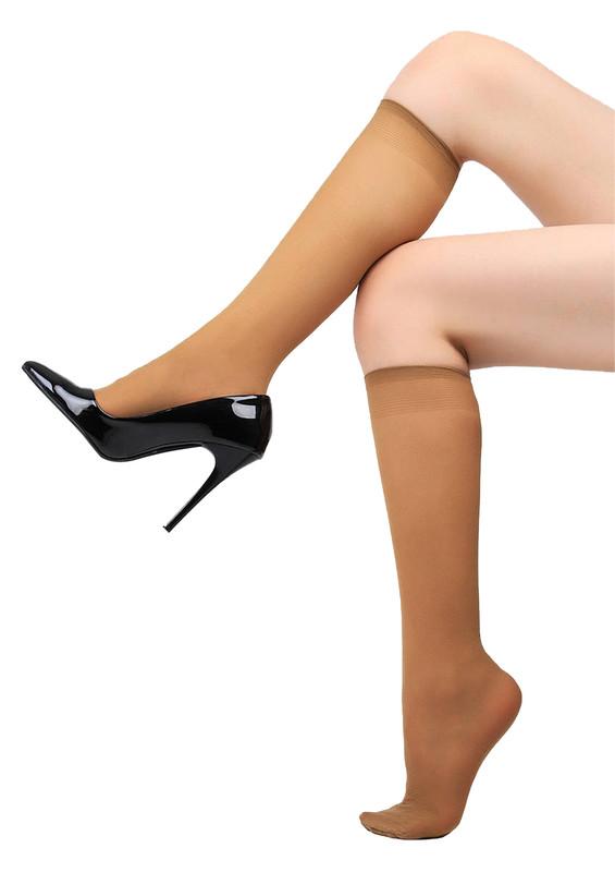 MÜJDE - Müjde Lastiği Rahat Dizaltı Çorap 016 | Bronz