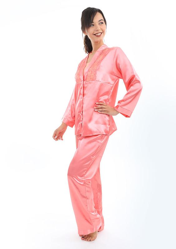 AHU - Yakası Güpürlü Düğmeli Saten Pijama Takımı 5075 | Pembe