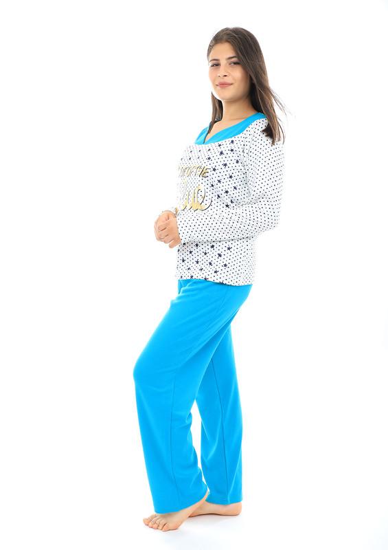 Akasya V Yakalı Desenli Uzun Kollu Pudra-Beyaz Pijama Takımı 559 | Petrol - Thumbnail