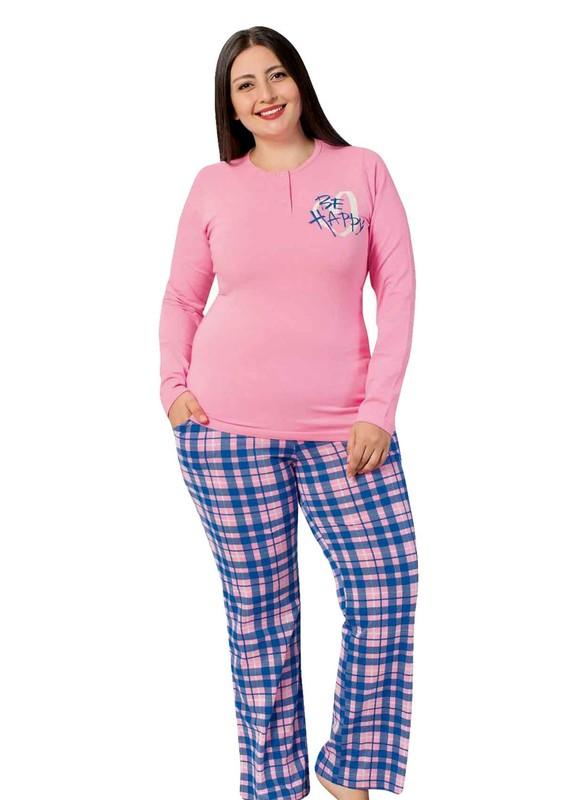 AYDOĞAN - Düğme Detaylı Desenli Büyük Beden Pijama Takımı 4641 | Pembe