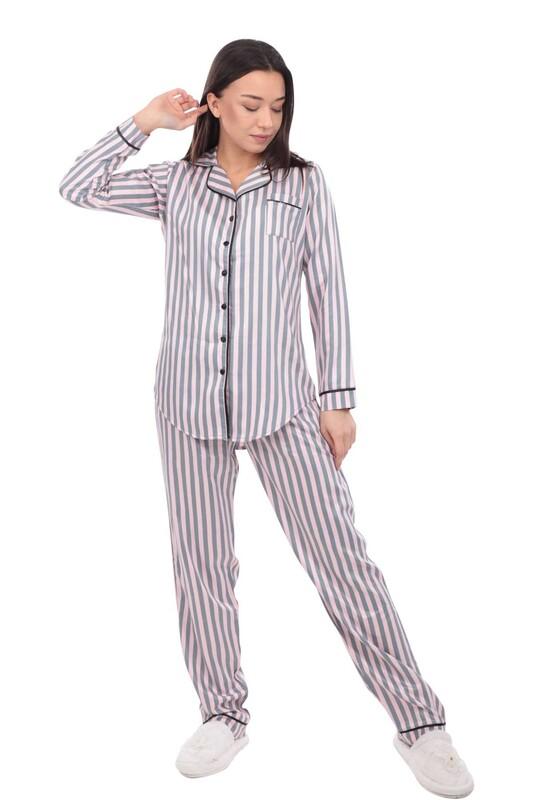 AYDOĞAN - Aydoğan Poplin Uzun Kollu Gömlek Kadın Pijama Takımı 14025 | Pembe