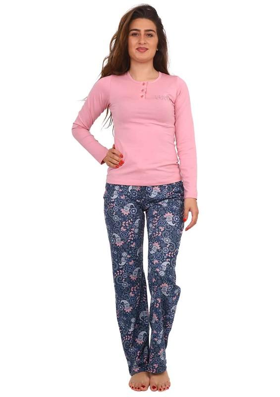 BERLAND - Berland Boru Paçalı Desenli Pijama Takımı 3022 | Pudra