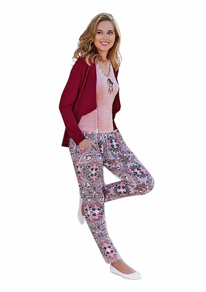 Berrak V Yakalı Desenli Dar Paçalı Pijama Takımı 443   Bordo