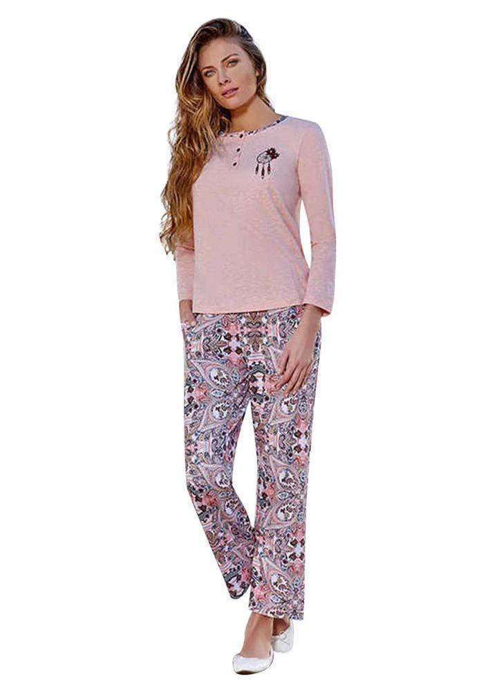Berrak Bol Paçalı Düğmeli Desenli Pijama Takımı 444 | Std
