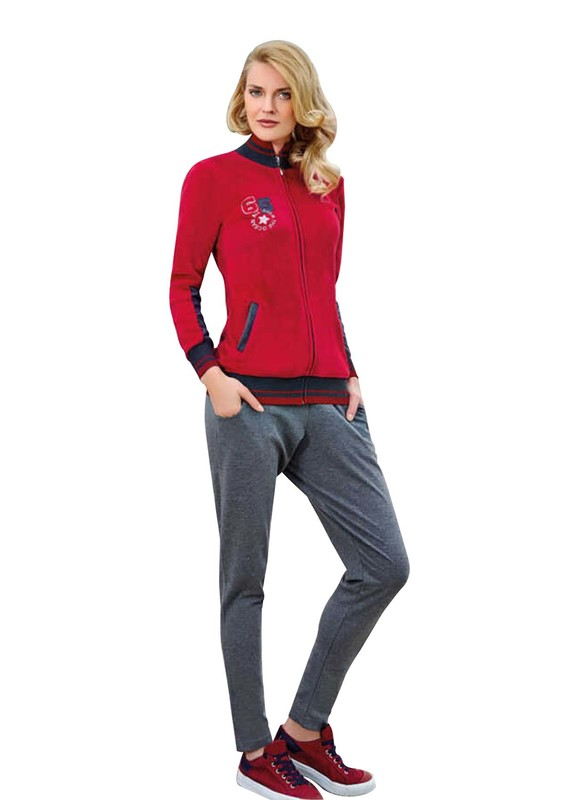 BERRAK - Berrak Fermuarlı Cepli Desenli Pijama Takımı 366 | Kırmızı