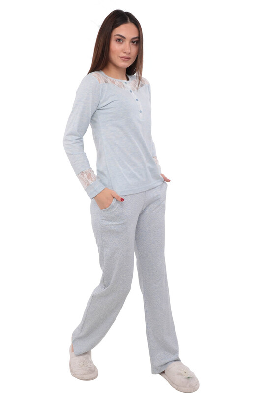 BERRAK - Berrak Yakası ve Kolları Dantelli Cepli Pijama Takımı 449 | Mavi