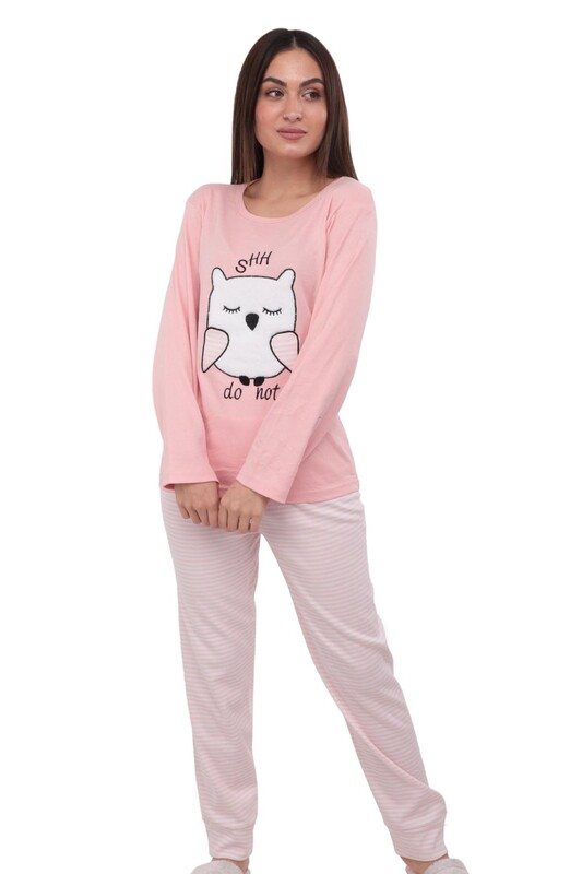 ERCAN - Baykuş Nakışlı Uzun Kollu Kadın Pijama Takımı 3001 | Pudra