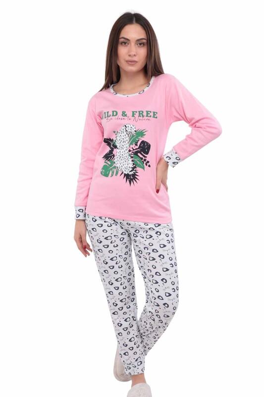 ERCAN - Yazı Baskılı Uzun Kollu Kadın Pijama Takımı 3034 | Pembe