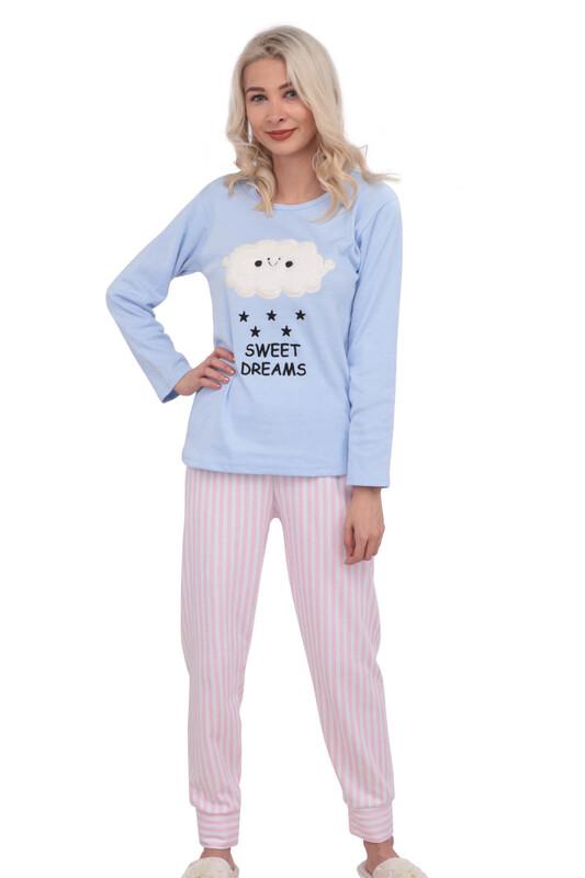 ERCAN - Bulut Desenli Uzun Kollu Kadın Pijama Takımı 3014 | Mavi
