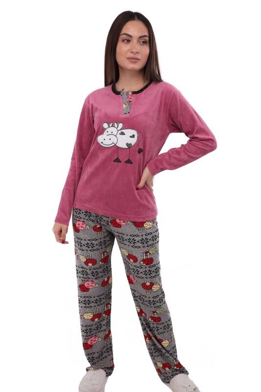 FAPİ - Fapi Boru Paçalı Desenli Kadife Pijama Takımı 3315 | Pembe