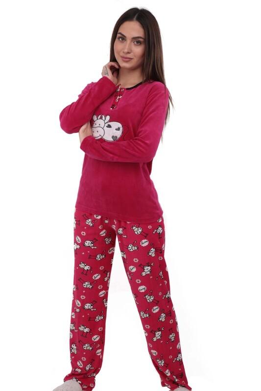 FAPİ - Fapi Boru Paçalı Desenli Kadife Pijama Takımı 3315 | Fuşya