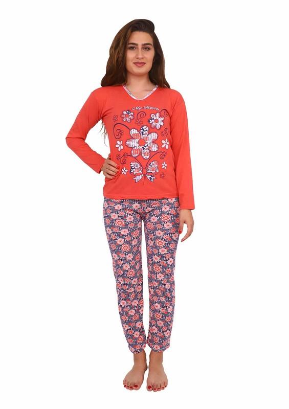 FİRST QUALİTY - Dar Paçalı Desenli Pijama Takımı 223 | Nar Çiçeği