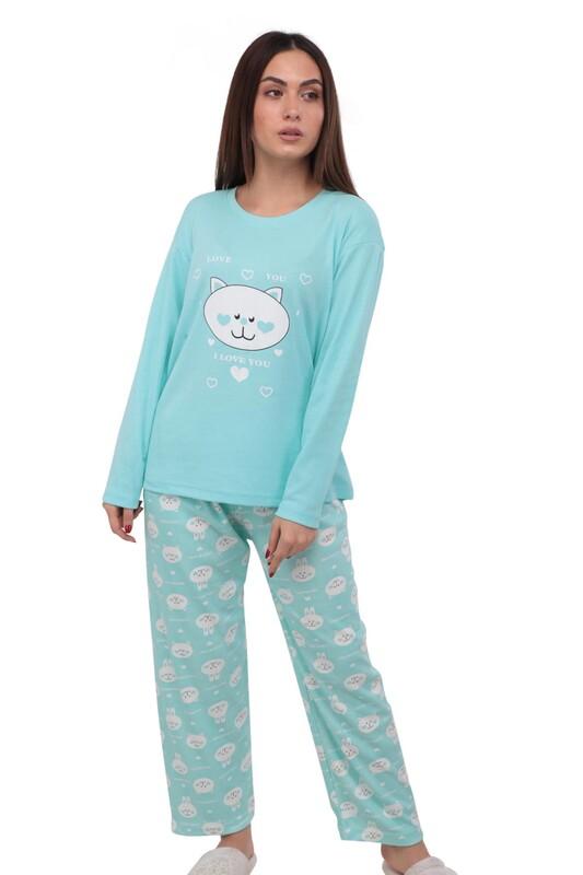 GLİSA - Kedi Baskılı Uzun Kollu Kadın Pijama Takımı 389 | Mavi