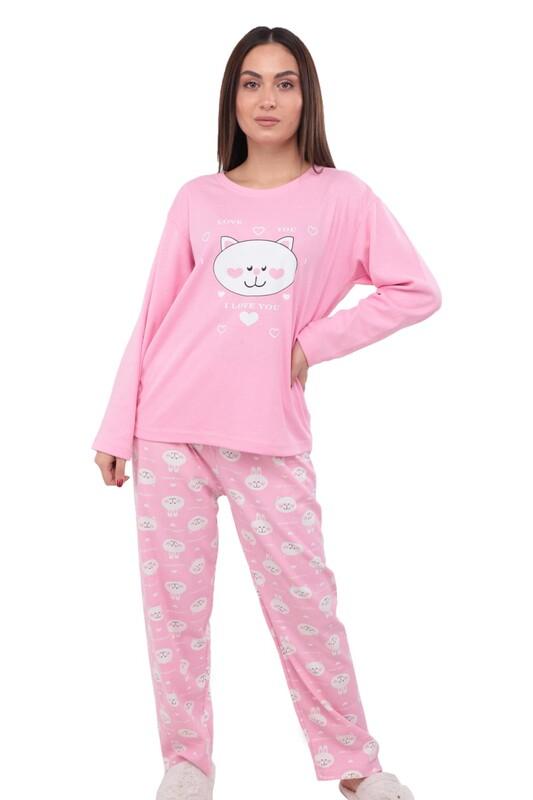 GLİSA - Kedi Baskılı Uzun Kollu Kadın Pijama Takımı 389 | Pembe