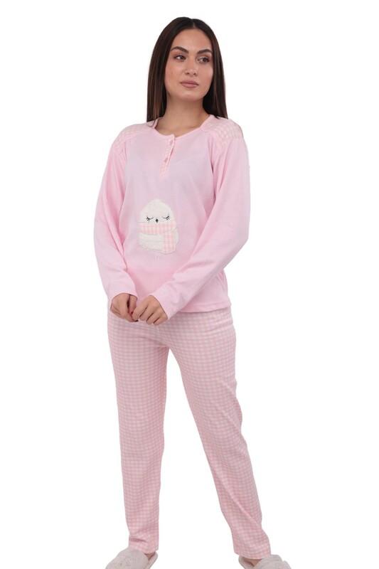 GLİSA - Baykuş Desenli Uzun Kollu Kadın Pijama Takımı 874 | Pembe