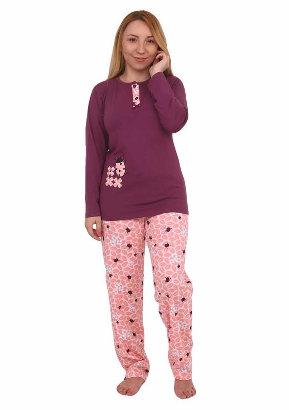 Işılay Yakası Düğmeli Uğur Böceği Desenli Pijama Takımı 8640 | Mürdüm - Thumbnail