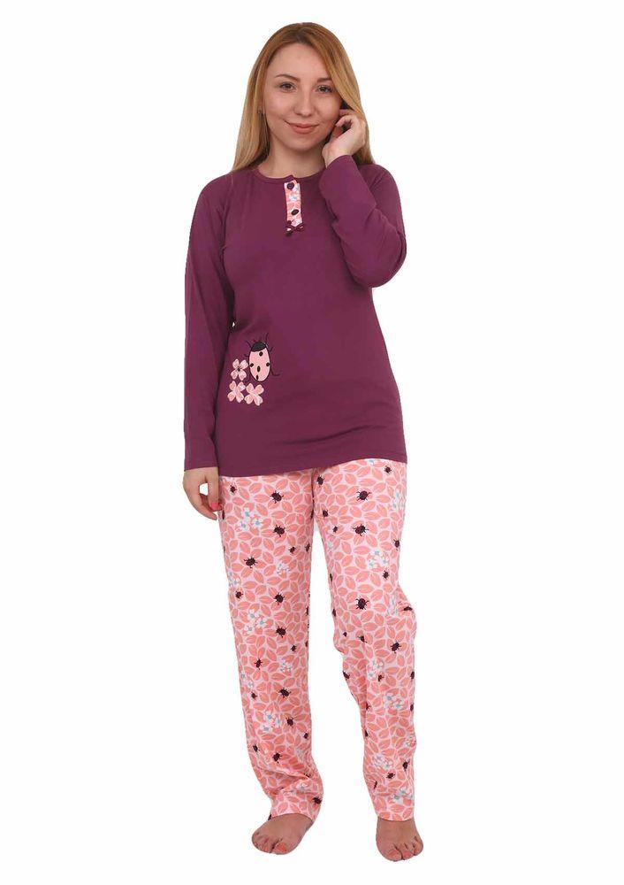 Işılay Yakası Düğmeli Uğur Böceği Desenli Pijama Takımı 8640 | Mürdüm