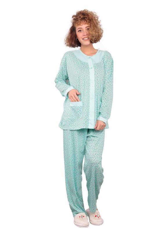 ITAN - İtan Önü Düğmeli Cepli Kelebek Desenli Pijama Takımı 402 | Su Yeşili