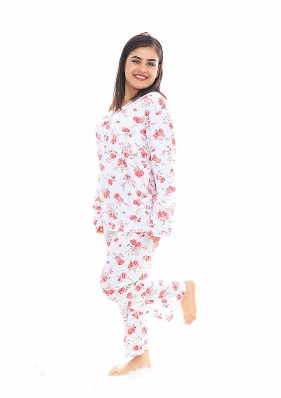 LİNDROS - Lindros Boru Paçalı Gül Desenli Pijama Takımı 8078 | Fuşya