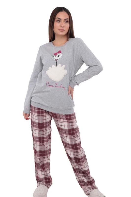 PİERRE CARDİN - Pierre Cardin Boru Paçalı Desenli Pijama Takımı PC7220 | Gri