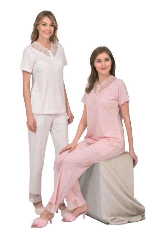 POLEREN - Poleren Yakası Güpürlü Düğmeli Pijama Takımı 5959 | Ekru