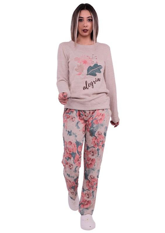 POLEREN - Poleren Boru Paçalı Çiçek Desenli Pijama Takımı 6142 | Bej