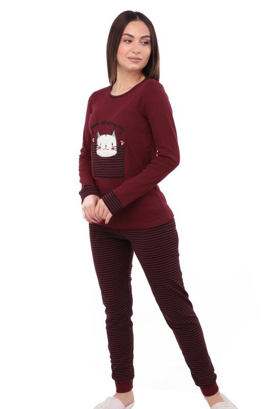 POLKAN - Kedi Nakışlı Uzun Kollu Kadın Pijama Takımı 5054 | Bordo