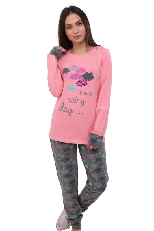 ROLYPOLY - Rolypoly Bulut Desenli Yazılı Ribanalı Pijama Takımı 3168 | Pembe