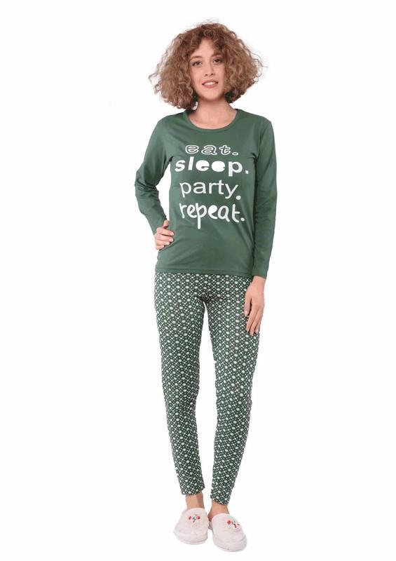 SUDE - Sude Dar Paçalı Desenli Yazılı Yeşil Pijama Takımı 2472 | Yeşil