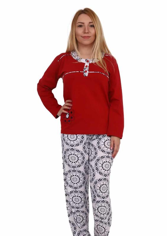 SUDE - Sude Düğme Detaylı Desenli Pijama Takımı 1040 | Bordo