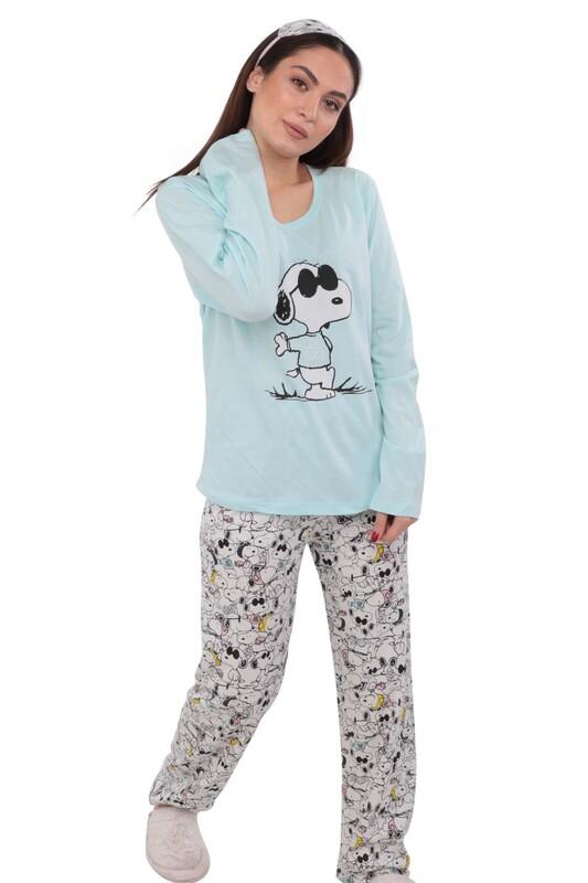 WOMAN - Uyku Gözlüklü Desenli Pijama Takımı 9626 | Turkuaz