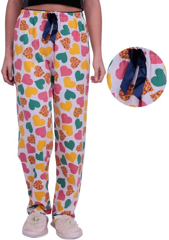 DOĞA - Kalp Baskılı Kadın Pijama Altı | Beyaz