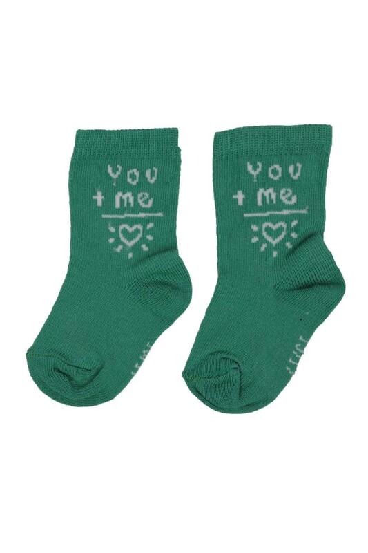 SİMİSSO - Kalp Desenli Bebek Soket Çorap   Yeşil