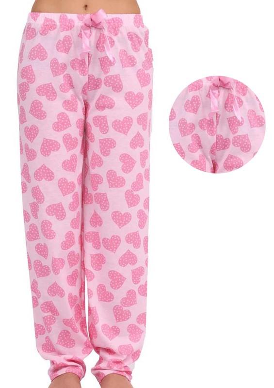 LİNDROS - Kalpli Dar Paçalı Pijama Altı Renk Seçenekleri İle 2119 | Pembe