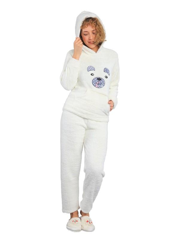 DOĞA - Kapüşonlu Cepli Welsoft Pijama Takımı 340 | Krem