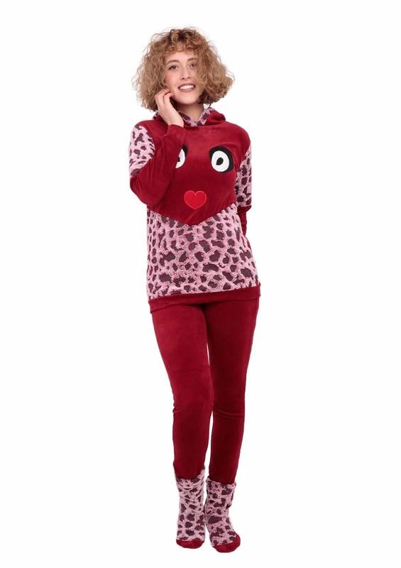 MAMMY - Kapüşonlu Desenli Baskılı Pijama Takımı 4041   Bordo