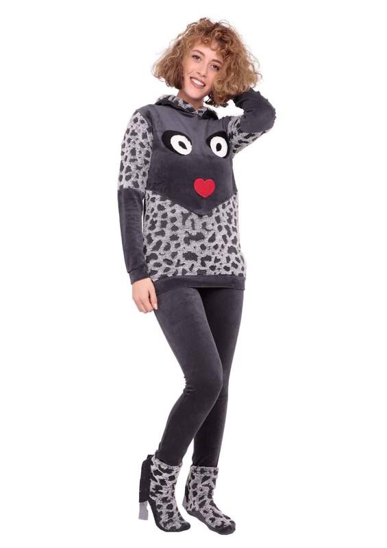 MAMMY - Kapüşonlu Desenli Baskılı Pijama Takımı 4041 | Füme