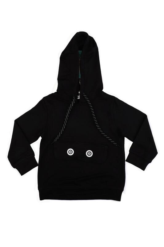 Macera Kids - Kapüşonlu Uzun Kollu Kız Çocuk Sweat 7089   Siyah