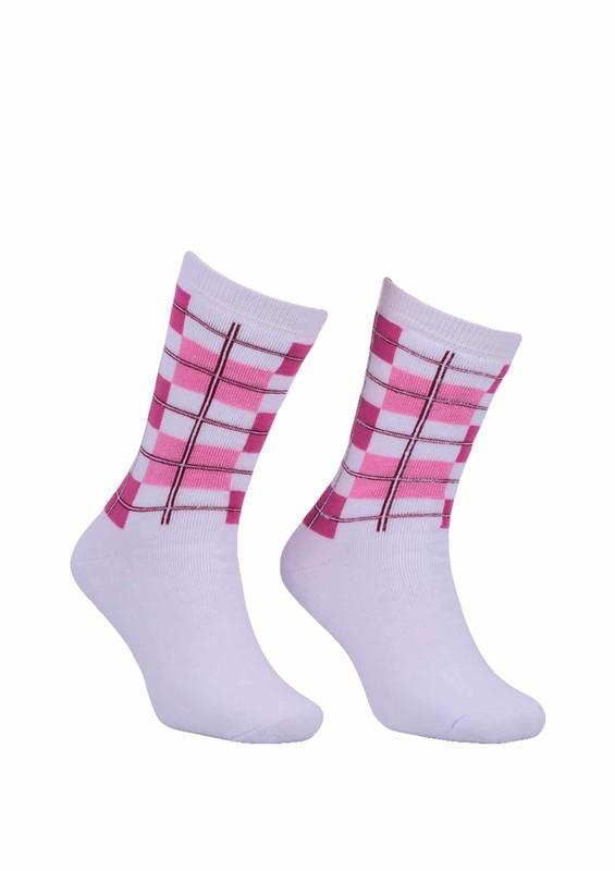 Modemo - Kareli Havlu Çorap 2050   Beyaz