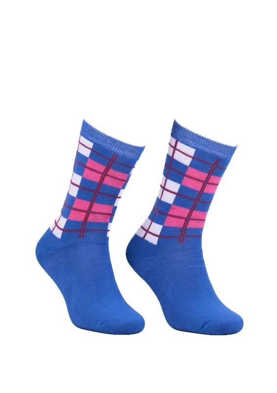 Modemo - Kareli Havlu Çorap 2050   Saks